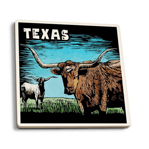 Texas - Longhorn Ceramic Coaster