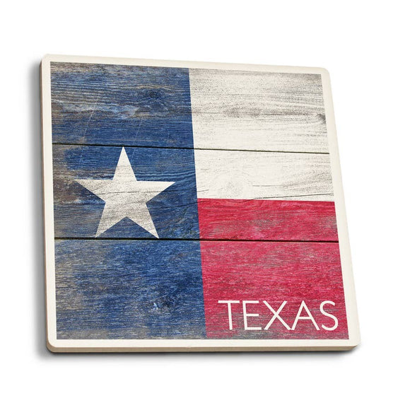 Texas - Rustic State Flag Ceramic Coasters