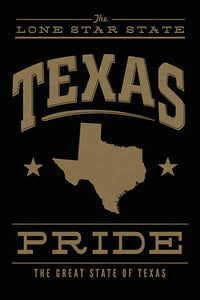 Texas State Pride - Gold on Black Ceramic Coasters