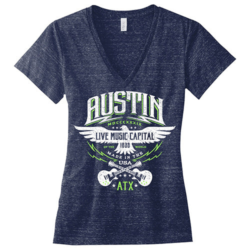 Austin Rockin' Eagle - Navy Triblend Ladies' V-Neck