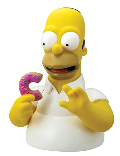 The Simpsons Homer with Donut Bust Bank Action Figure,White,yellow