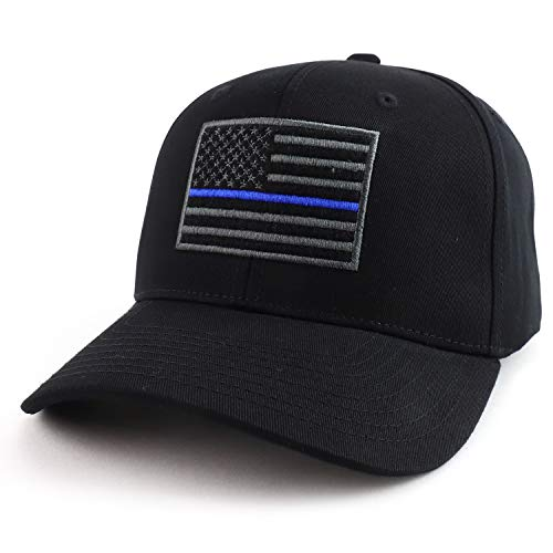USA American Flag Embroidered 6 Panel Adjustable Operator Cap - Thin Blue Line - Black