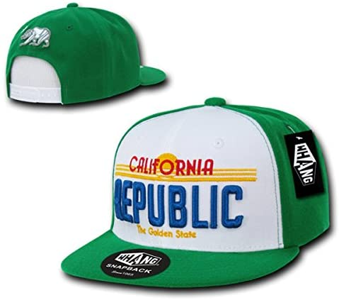WHANG California Republic Plate Design Snapbacks, White/Kelly