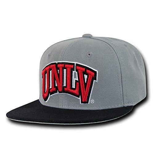 NCAA UNLV University Nevada Las Vegas Snapback Baseball Caps Hat Grey Black Bill - Miracle Mile Gifts