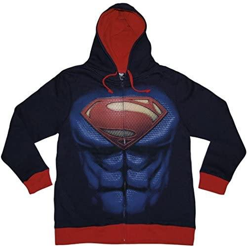 Man of Steel Men's Navy Costume Hoody MEDIUM - Miracle Mile Gifts