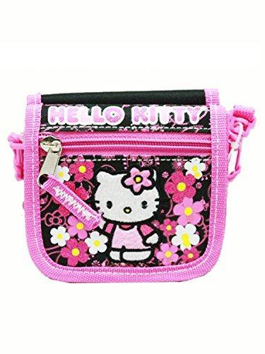 Hello Kitty String Wallet Flowers Black - Miracle Mile Gifts