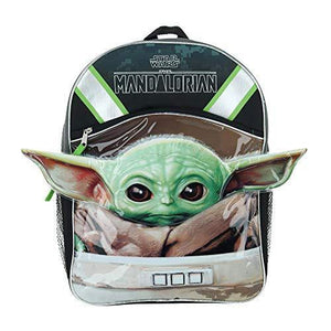 "Star Wars Grogu Baby Yoda 16"" Half Moon Backpack - Miracle Mile Gifts"