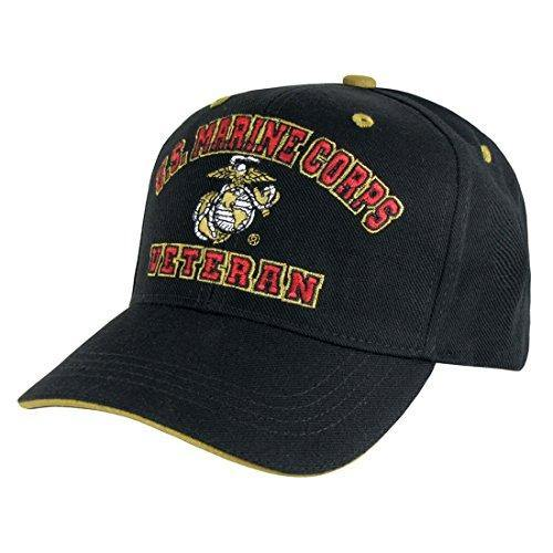 US Marines Veteran Embroidered Baseball Cap Hat (Black) - Miracle Mile Gifts