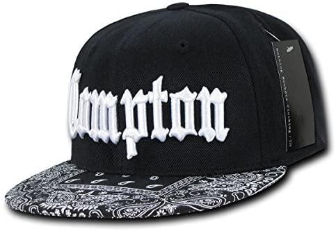 Compton Flat Bill Snapback Black Adjustable Baseball Cap Hat - Miracle Mile Gifts