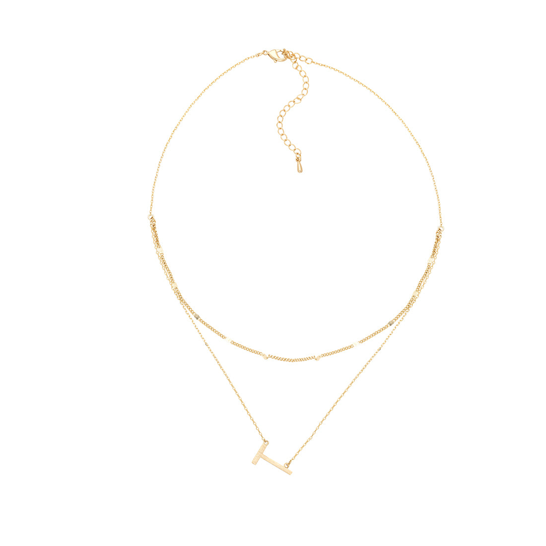 Gold Double Chain Initial Neckalace