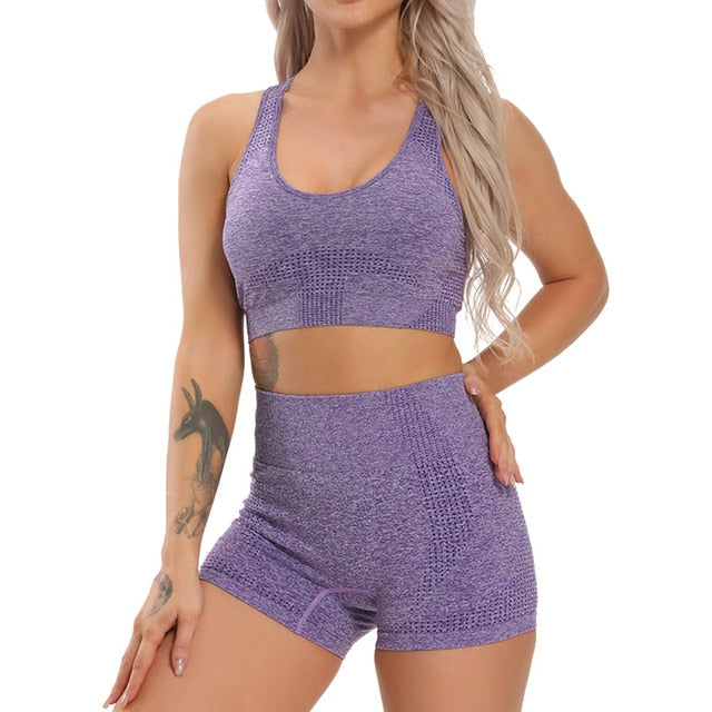 DxM Fit High-Waisted, Seamless Leggings and Long Sleeve, Seamless, Cropped Top (set)