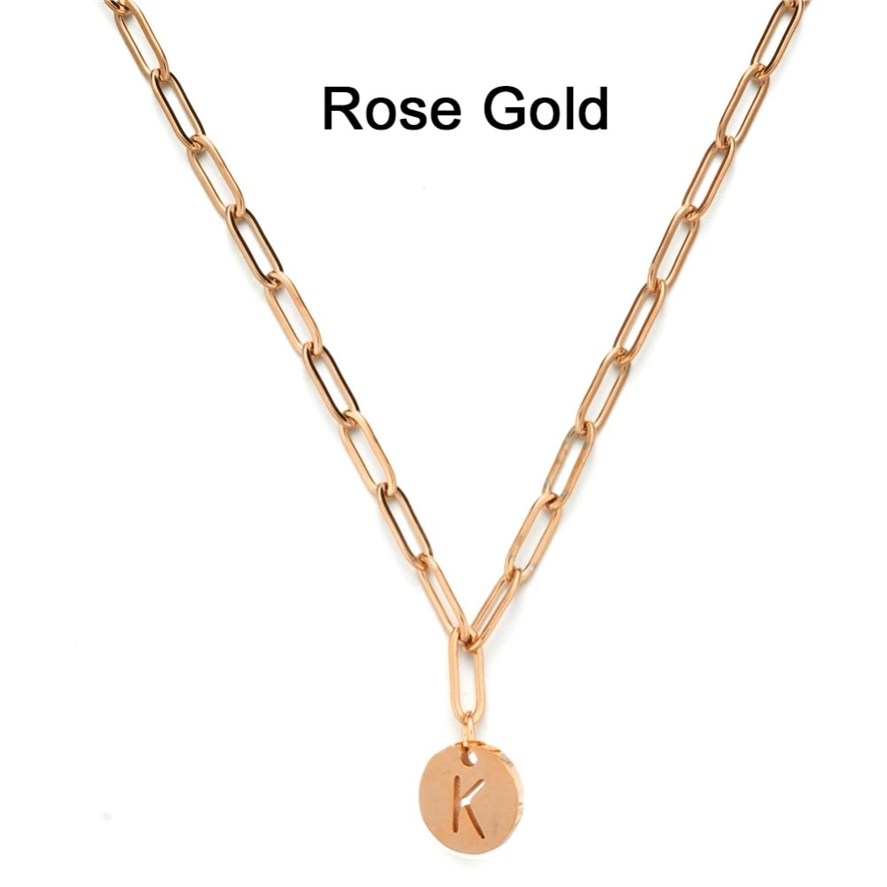 CORI Chain Link Necklace w/ Initial Pendant