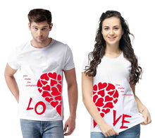 Load image into Gallery viewer, White Cotton Blend Round Neck Printed Couple T-Shirts for Men & Women