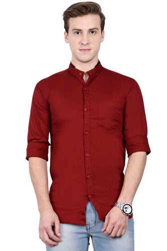Limited Edition Shirt Maroon Cotton Long Sleeves Casual Shirts