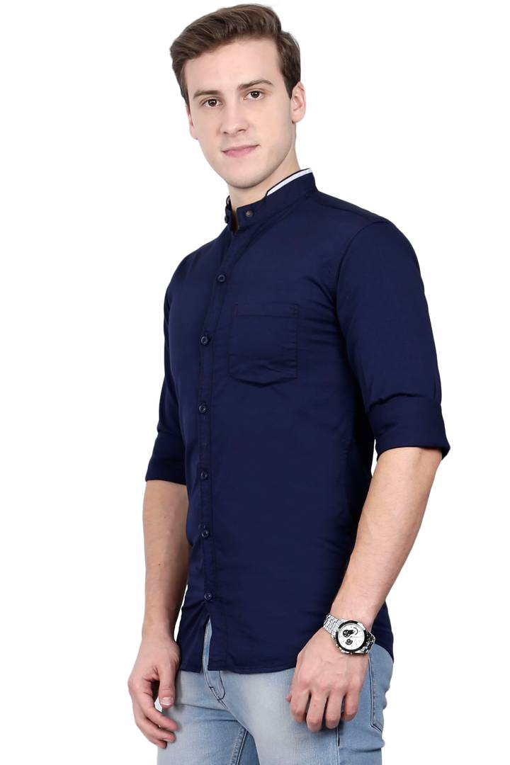 Limited Edition Shirt Navy Blue Cotton Long Sleeves Casual Shirts