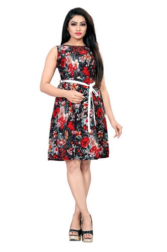 Women Crepe Printed A-Line Dress