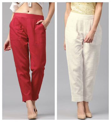 Women's/Girls Cotton Flex Casual Solid Trouser Pants Pack Of 2