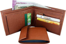 Load image into Gallery viewer, Men's Tan Leatherette Two Fold Wallet