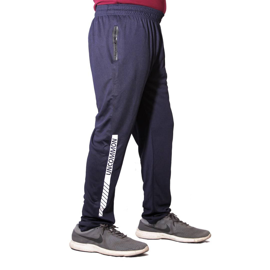 Men's Navy Blue Polyester Blend  Regular Track Pants