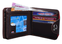 Load image into Gallery viewer, Brown Genuine Leather Three Fold Wallet