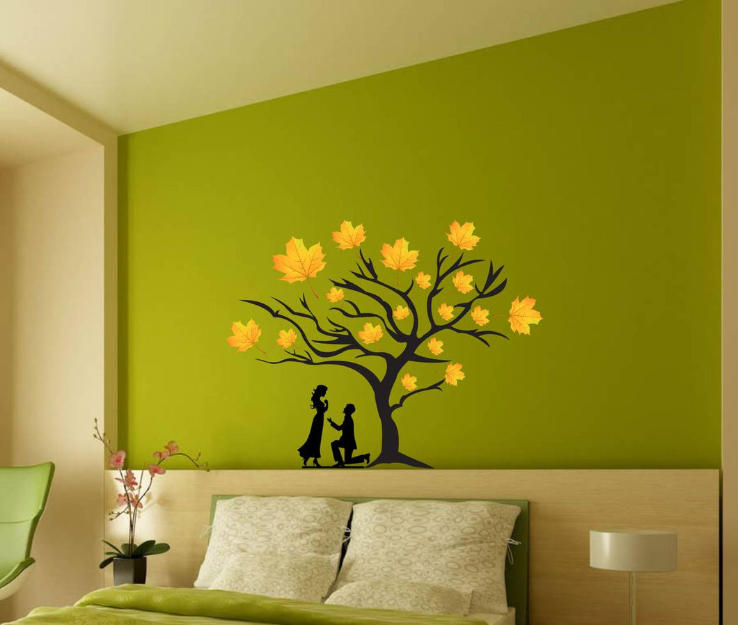 Wall Sticker Loving Couple Under A Tree Decorative Wall Sticker(48 cm X  61) (Non Returnable)