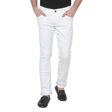 Men's White Cotton Blend Solid Regular Fit Mid-Rise Jeans