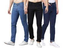 Load image into Gallery viewer, Men's Regular Fit Mid Rise Cotton Spandex Stretchable Jeans Combo Of 3