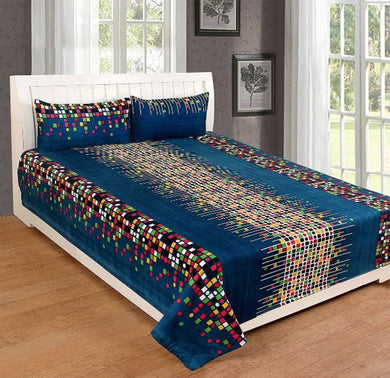 Poly Cotton 3D Double Bedsheet With 2 Pillow Covers