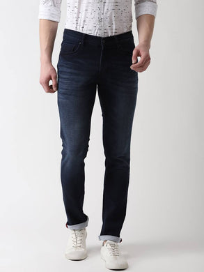 Men's Navy Blue Cotton Spandex Solid Regular Fit Mid-Rise Jeans