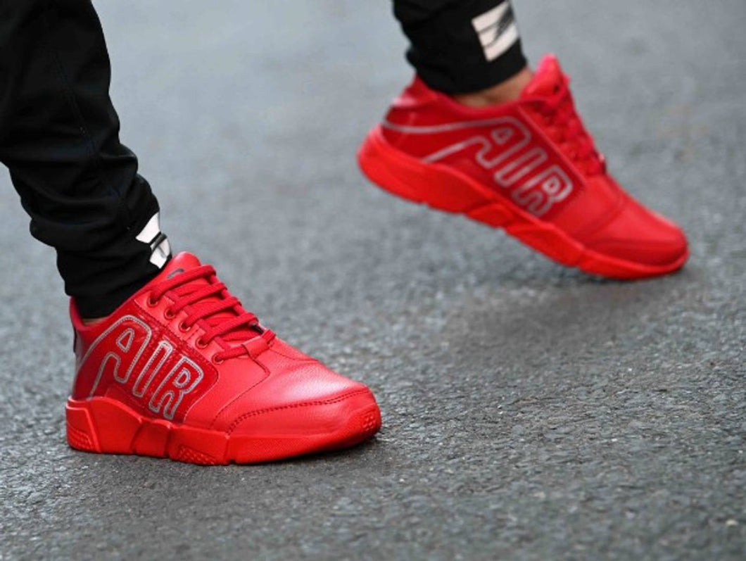 Ultra Lite Red Sports Synthetic Sneakers For Men