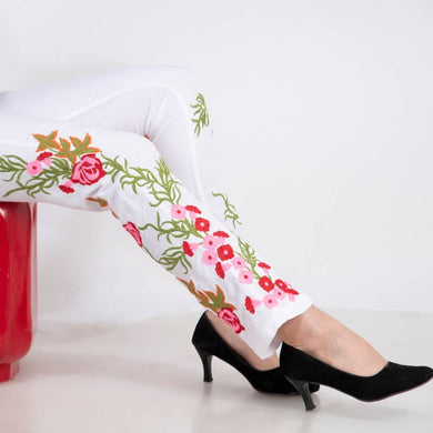 White Embroidered Cotton Trouser For Womens