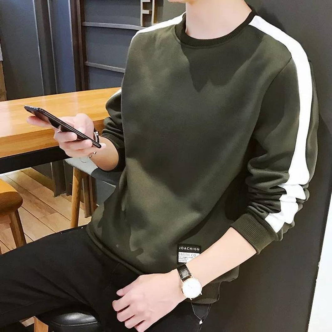 Men's Green cotton blend Self Pattern Round Neck Tees