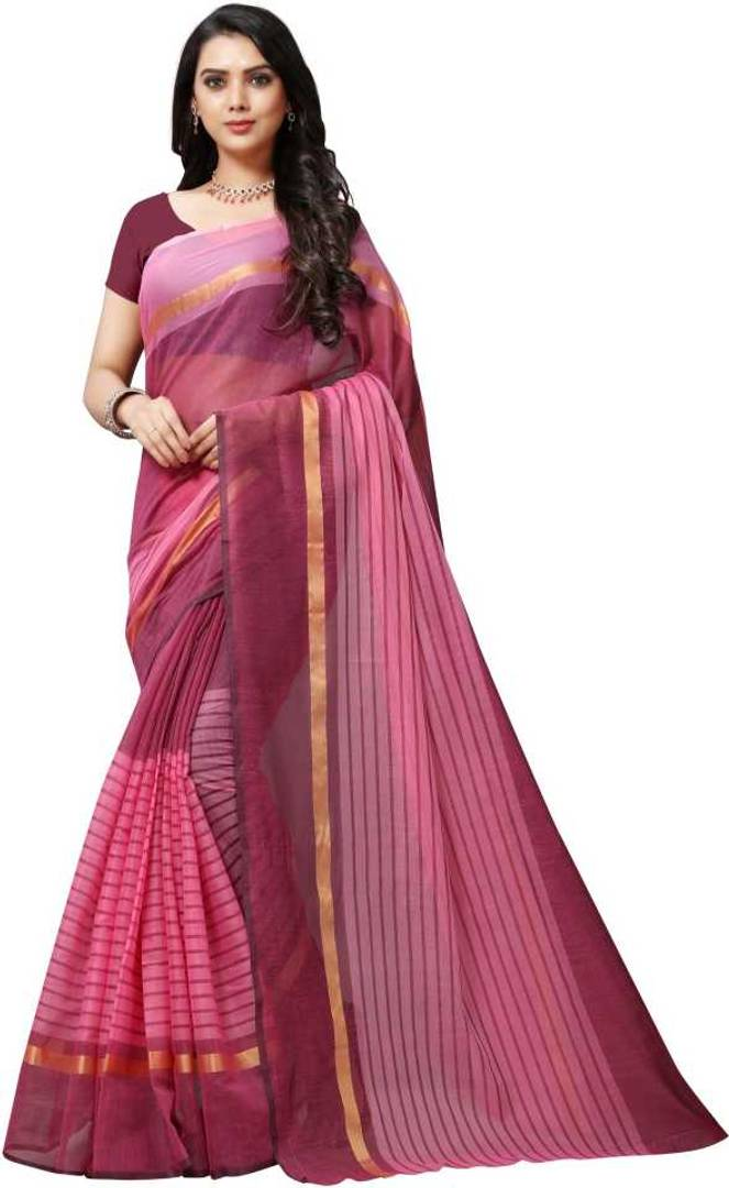 Pink Color Chanderi Saree with Blouse piece
