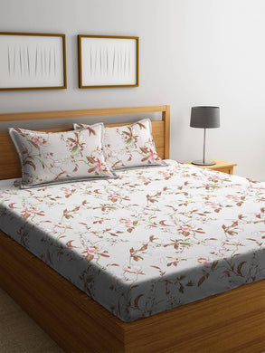 Elite Multicoloured Cotton Abstract Double Bedsheet With 2 Pillow Cover Set