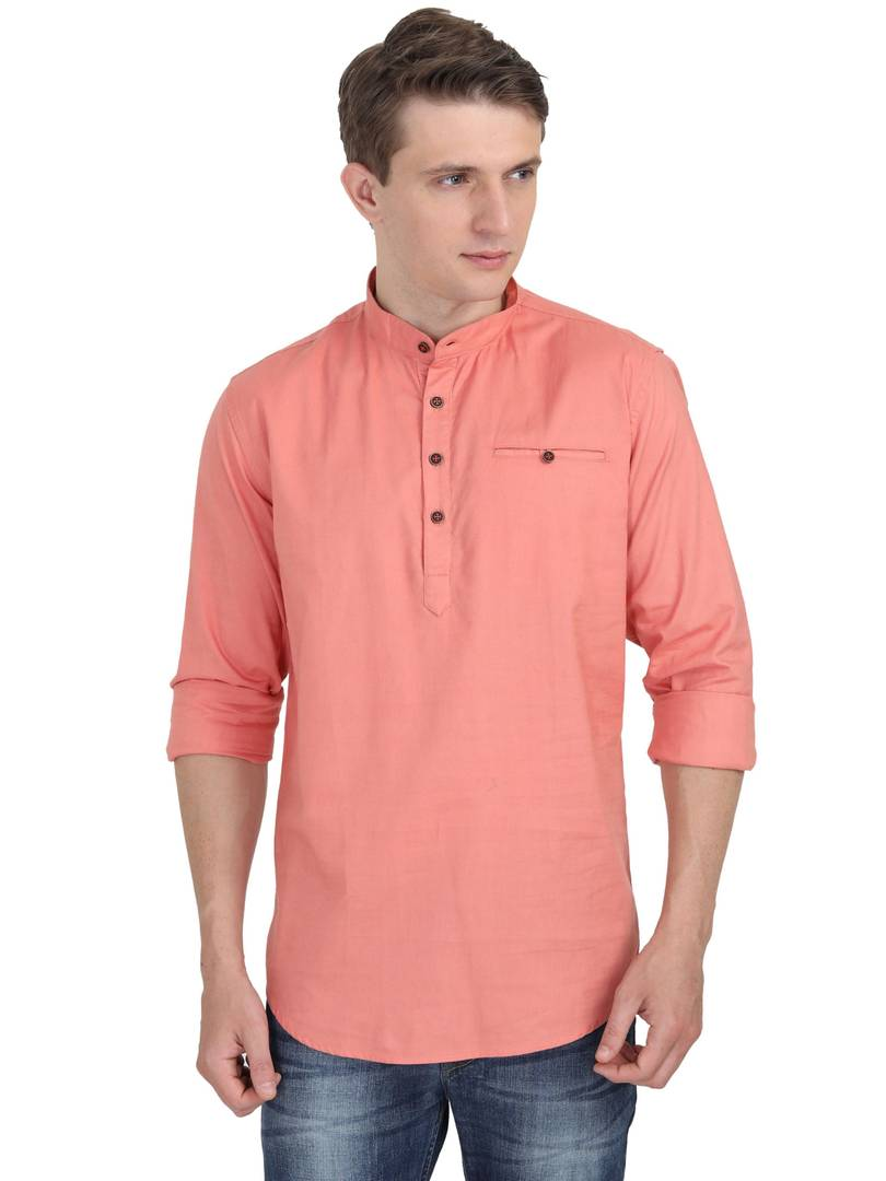Men's Orange Cotton Solid Long Sleeves Regular Fit Casual Shirt