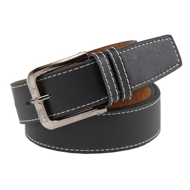 Men's Black Leatherite Solid Slim Belts