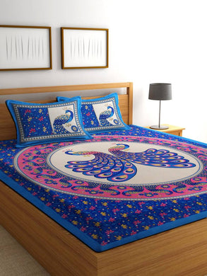 Pure Cotton Made Abstract Design Printed Double bedsheet With Two MatchinG Pillow Covers