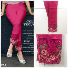 Load image into Gallery viewer, Trendy Embellished Cotton Spandex Pant For Women's