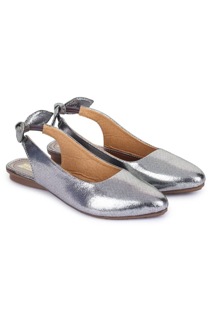 Stylish Silver Synthetic Sandals For Women