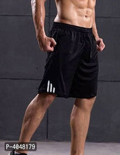 Load image into Gallery viewer, Men Black Polyester Regular Fit Sports Shorts