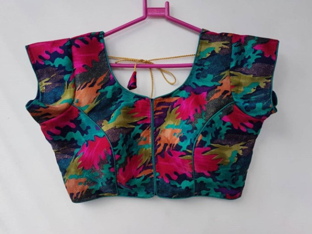 Women's Satin Silk Printed Stitched Blouse
