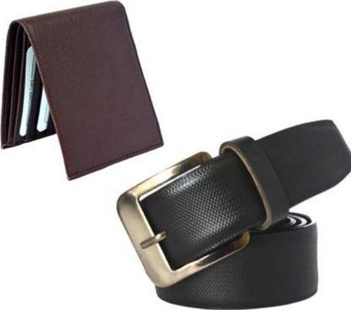 Men's Multi Synthetic Leather Wallet & Belt Combo