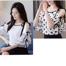 Load image into Gallery viewer, WHITE PLAIN AND WHITE WITH BLACK DOTT OFF SHOULDER TOP
