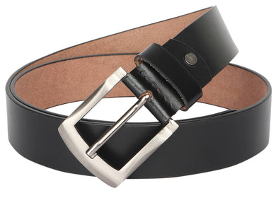 Men's Black Genuine Leather Wide Textured Non Reversible Top Grain Formal Belts