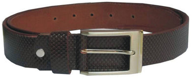 Men's Brown Genuine Leather Wide Textured Non Reversible Top Grain Formal Belts