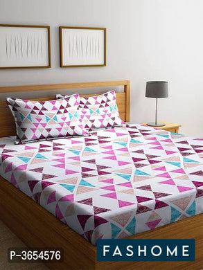 FasHome King Size Cotton Bedsheet with 2 Pillowcovers (108*108 Inch)