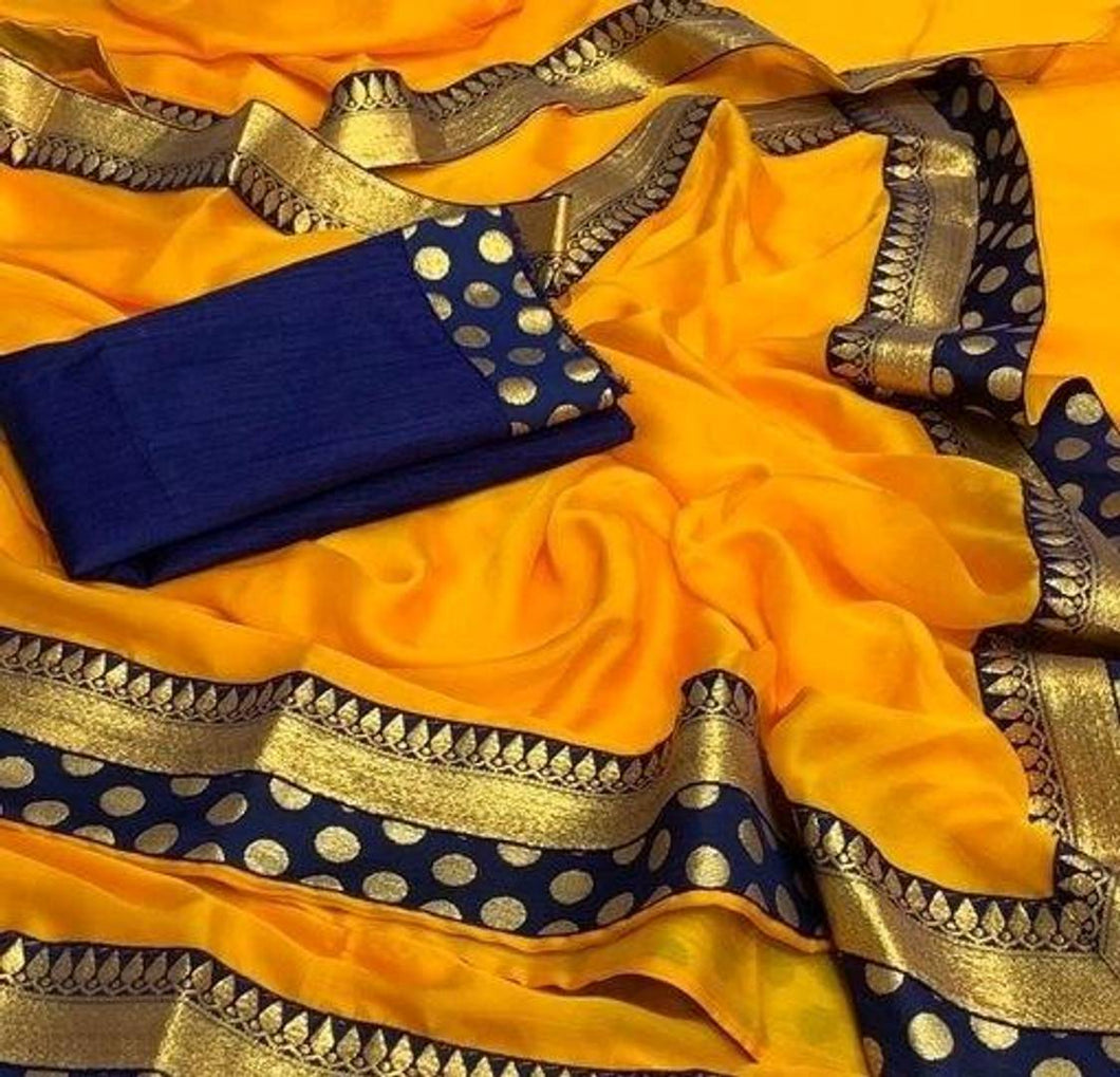 Trendy Cotton Silk Multicolored Saree With Blouse Piece