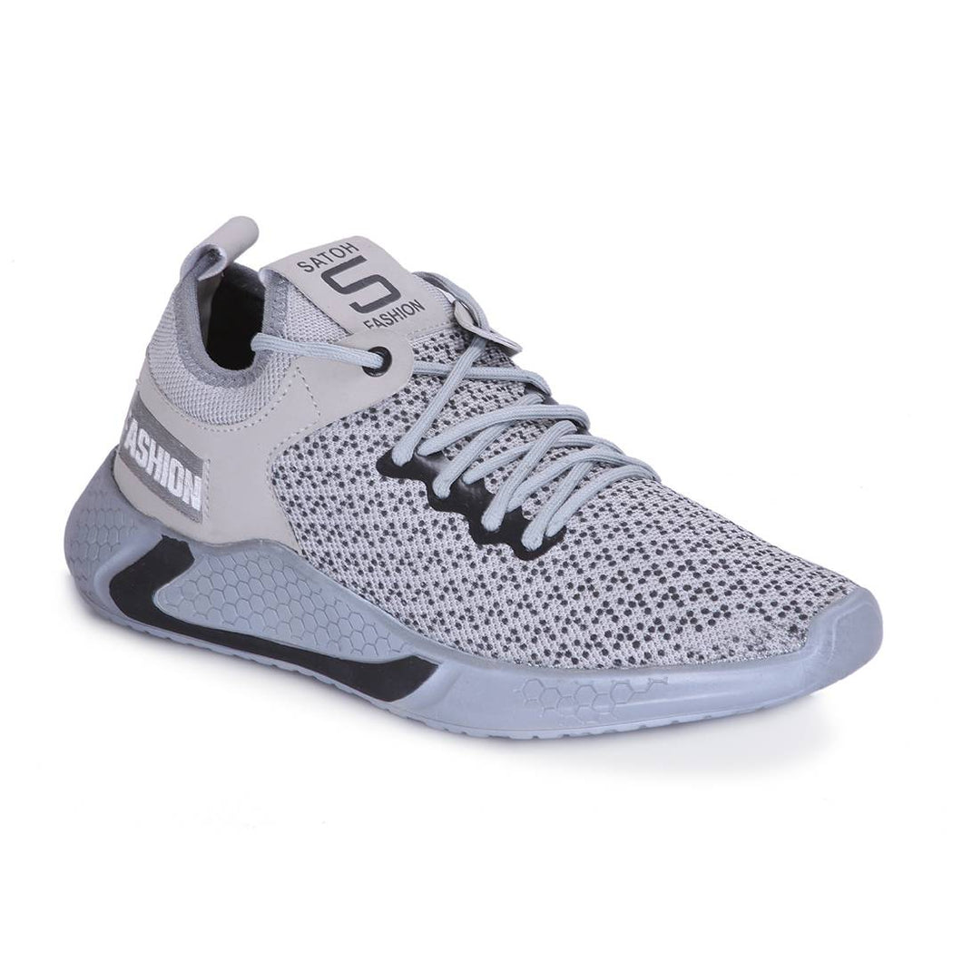 Men's Stylish and Trendy Grey Self Design Mesh Casual Sports Shoes
