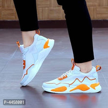 Load image into Gallery viewer, Men Synthetic White and Orange Solid Comfort Sport Shoes