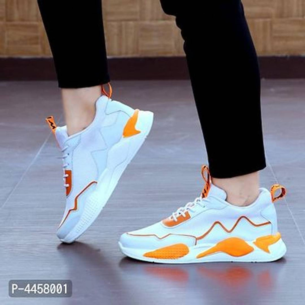 Men Synthetic White and Orange Solid Comfort Sport Shoes